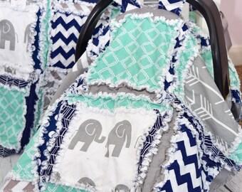 Elephant Car Seat Canopy Boy - Navy / Gray / Mint Nursery Boy Car Seat Cover - Elephant Quilt- Elephant Car Seat Cover- Safari Nursery Decor
