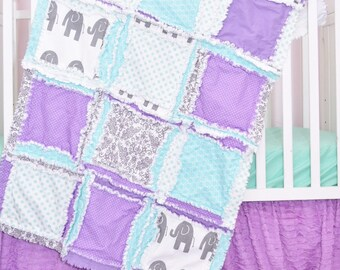 Purple Elephant Crib Quilt Baby Boy Nursery - Mint Crib Bedding Safari Nursery Decor - Gray Flannel Baby Blanket Lilac Elephant Bedding