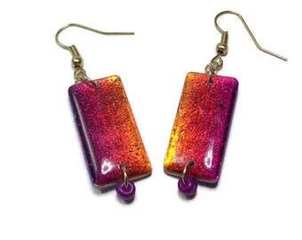 Dangle Rainbow Earrings polymer clay jewelry Resin Earrings Gifts for Her Handmade Earrings Dichroic Earrings
