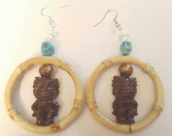 Tiki earrings, Tiki jewelry, Tiki, Skull earrings, Bamboo, Bamboo earrings, Ready to ship, MsFormaldehyde