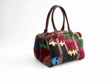 Vintage Wool Kilim and Leather Handbag | Leather and Wool Tapestry Purse | Medium Kilim Speedy