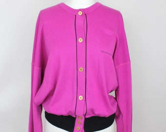 Vintage 80s Sonia Rykiel Cotton Pullover | Fuchsia Cotton Blouson Sweatshirt | Slouchy Cotton Top | M