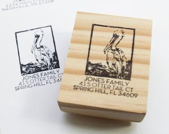 pelican return address stamp, beach address stamp, custom address stamp, ocean address stamp, pelican gifts