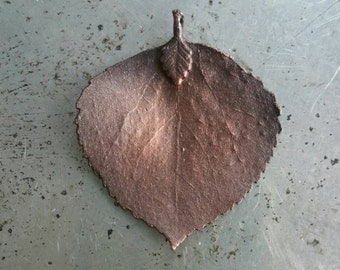 Electroformed copper aspen leaf pendant