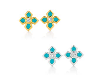 Morgaine Cross Diamond Earrings
