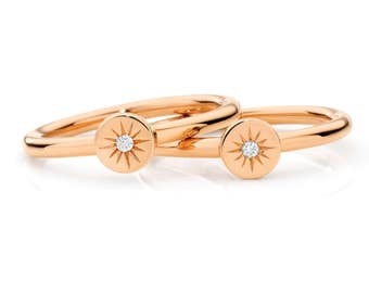 Sunshine Diamond Ring solid Rose Gold