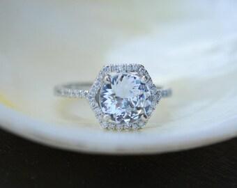 Hexagon Engagement Ring. White Sapphire Ring. 14k White Gold 1.7ct Round sapphire engagement ring by Eidelpresious