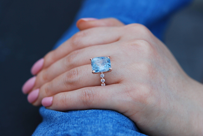 Blake Lively ring Rose Gold Engagement Ring GIA 8 6ct Blue