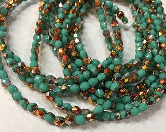 Turquoise Copper Finish Czech Glass Firepolished Crystal Beads 4mm