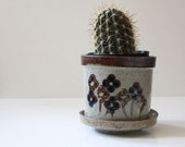Takahashi stoneware planters with flower design, 1970s stoneware.