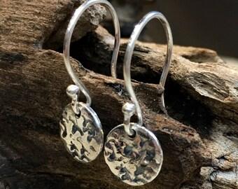 Silver disc Earrings, hammered silver Earrings, Light Weight Earrings,dainty Jewelry, minimalist earrings, boho earrings - By My Side E8063