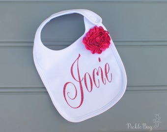 Personalized 1st Birthday Outfit Bib, Cake Smash Outfit Bib, Hot Pink 1st Birthday Bib, Baby Shower Gift, First Birthday Outfit Bib