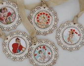 Set of FIVE  Vintage inspired Victorian VALENTINE Gift Tags Ornaments Cream Red Cherubs Cupid