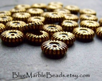Gold Spacer Beads, Etched Beads, Carved Beads, Spacer Beads, Gold Beads, Antique Gold, Jewelry Supplies, Lucite Beads, 30 Beads