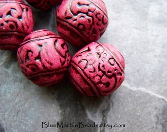 Carved Beads, Boho Beads, Tribal Beads, Vintage Beads, Lucite Beads, Raspberry, Cranberry, Saucer Beads, Antiqued, 6  Beads