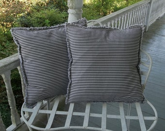 Ticking Pillows Custom Pillow Shams Striped Pillows Pillow Cover  Country French Farmhouse Pillows