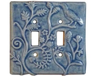 Persian Ceramic Light Switch Cover - Double Toggle in Light Blue Glaze