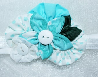 Newborn to 3 month,,fabric flower, stretch headband, baby, infant, photo prop,Aqua,White band