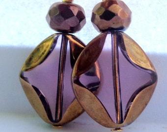 Pink  Earrings Dangle Earrings Golden earrings Leverback Earrings Fancy Earrings glass earrings SALE