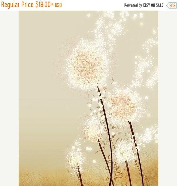 50% Off - Black Friday Dandelion Art - Perennial Moment (gold) - 8x10 Print - Modern Flowers Home Decor