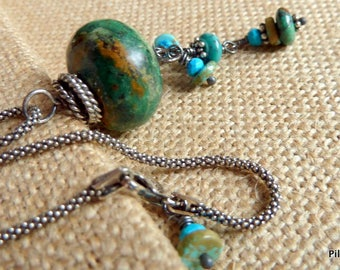 Organic Natural Turquoise Stone Pendant Necklace Green Blue Brown Chunky Gemstone Jewelry Earthy Rustic Statement Jewelry *Bhoja Necklace