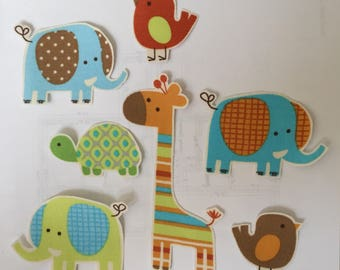 Pastel Elephants and Friends - Iron On Fabric Appliques -Jungle Animals