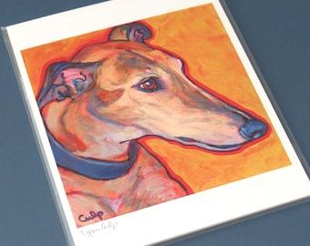 Brindle GREYHOUND Dog 8x10 Signed Art Print from Painting by Lynn Culp