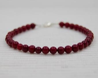 Deep red coral bracelet
