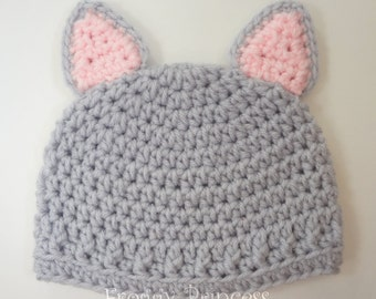 Baby Kitty Hat 3-6 Months Beanie Cat Hat Ready to Ship Gifts for Babies Christmas Present