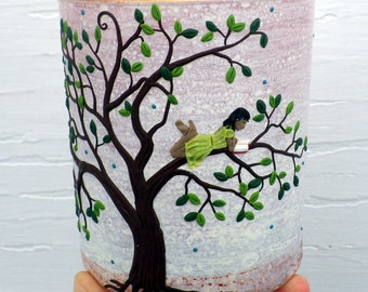 Tiny Girl Reading in her Green Tree Sculpted with Polymer Clay onto a Recycled Glass Candle Holder in Cream and Dusky Rose