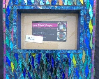 """Picture Frame 8"""" X 8"""" for a  3.5"""" X 5""""photo Handmade Mosaic one of a kind great gift"""