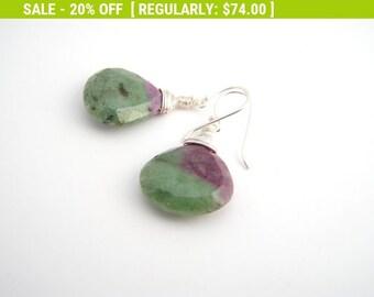 20% Off Sale Ruby In Zoisite Dangle Earrings, Teardrops, Sterling Silver, Classic, Raspberry Red, Green, Black