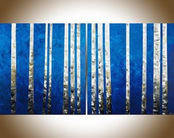 "Birch painting 60"" extra large wall art wall decor painting on canvas blue white black home office wall hanging by qiqigallery"