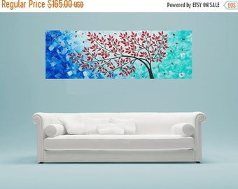 "Blue green Colorful art Red Leave Tree painting acrylic Impasto Landscape Painting Canvas art home Office decor ""Fall Breeze"" by qiqigallery"