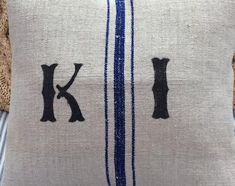 European Vintage Monogramed GRAINSACK Pillow/French Cottage/Paris Shabby Chic/Industrial Loft/Throw PiLLoW/Lumbar