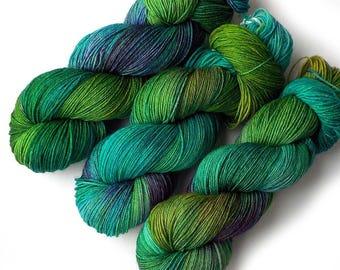 Hand Dyed Yarn Merino Nylon Sock Yarn, 433 yards, Emerald City