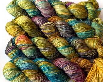 Hand Dyed Yarn Superwash Merino Sock Yarn, Golden Tapestry, 375 yards