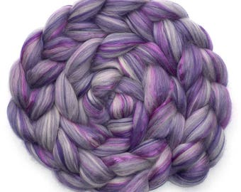 Roving Superfine Merino Mulberry Silk 75/25 Combed Top Custom Blend, Lilacs