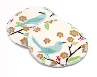 "4.5"" Reusable Cloth Nursing Pad Set in Bamboo/Organic Cotton with heavy fleece in Cotton Flannel - Finches"