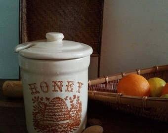 Vintage Pottery Honey Pot, 70s, Bohemian