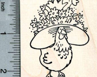 Easter Hat Chicken Rubber Stamp J32102 Wood Mounted
