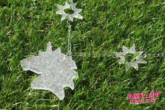 White Glitter Unicorn Necklace with Stars, Laser Cut Acrylic