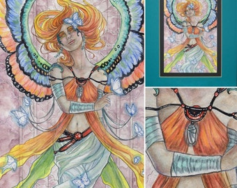 Butterfly Guardian ORIGINAL ART Double Matted Rainbow Female Woman Goddess Angel with Butterflies and Chrysalis Cocoon Necklace