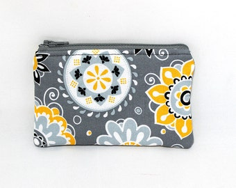Pocket Zipper Case, Change Purse, Card Case, Coin Purse, Yellow and White Flowers on Gray 8754