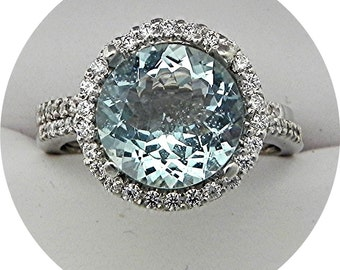 AAAA Aquamarine Natural Untreated   10mm Round  3.09 Carats   14K white gold Halo Wedding Bridal set .60 carats of diamonds 2357