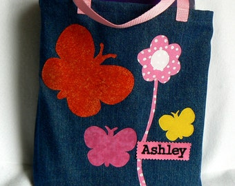 Pink butterfly's Tote Bag|Children's Book Bag|Christmas Gift Bag|Personalized Tote Bag|Preschool bag|Library Book Bag|Toddler Tote Bag