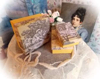 Spring Sale...Miniature Storage Boxes...Dolls House Decoration and Storage or Shop Display 1:12 Scale...1 Inch Scale...3 Set of Three