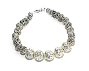 Clearance Sale Boho chic Gypsy silver metal beaded stackable bracelet