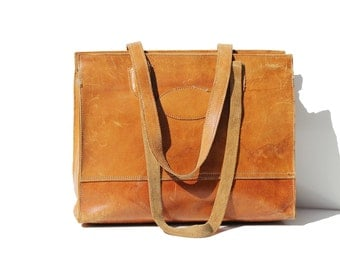 Vintage Large Tan Leather Travel Holdall Tote Bag