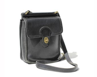 Vintage Black Leather Shoulder or Crossbody Bag